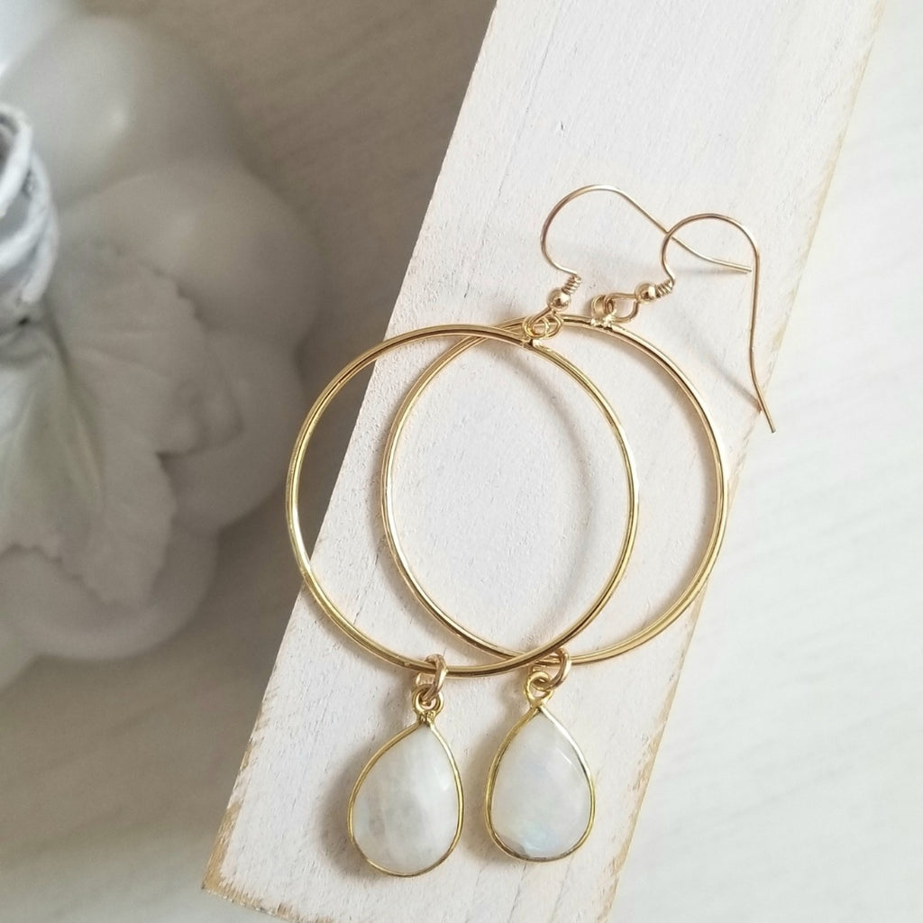 Gold Hoop Earrings, Moonstone drop earrings