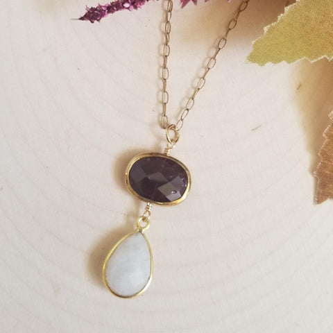 Garnet and Moonstone Teardrop Pendant Necklace