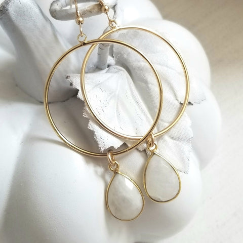 Gold Gemstone Hoop Earrings