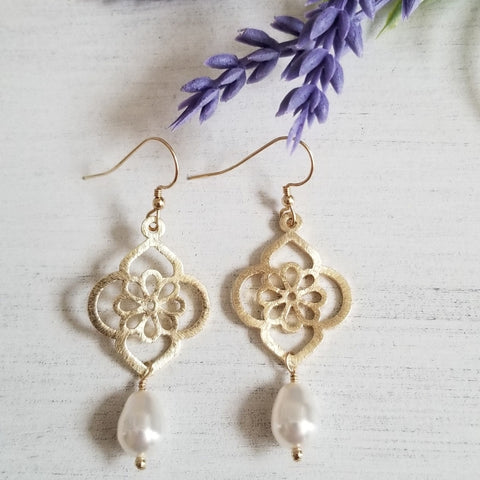 Gold Pearl Earrings for Women made in the USA