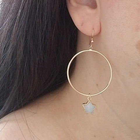 Bohemian Gold Hoops with Gemstones