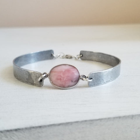 Pink Opal Bangle Style Bracelet Handmade in the USA