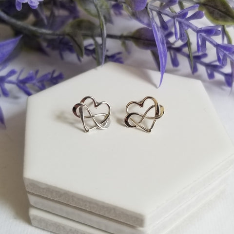 Sterling Silver Infinity Heart Studs