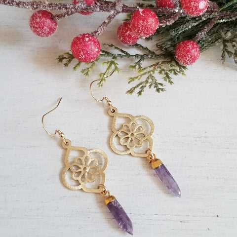 Gold Amethyst Crystal Spike Earrings