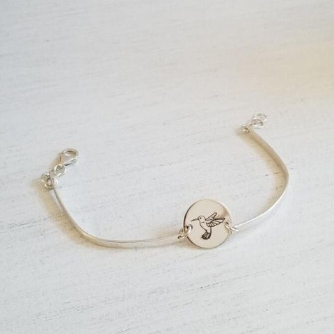 Hummingbird Bracelet, Skinny Bangle Bracelet