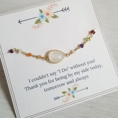 Gold Moonstone Bracelet, Bridesmaid Gift