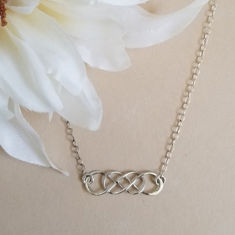 Friendship Necklace, Sterling Silver Infinity Necklace