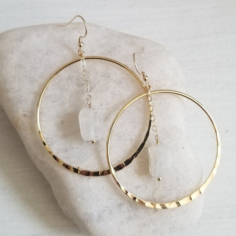 Raw Moonstone Crystal Gold Hoop Earrings