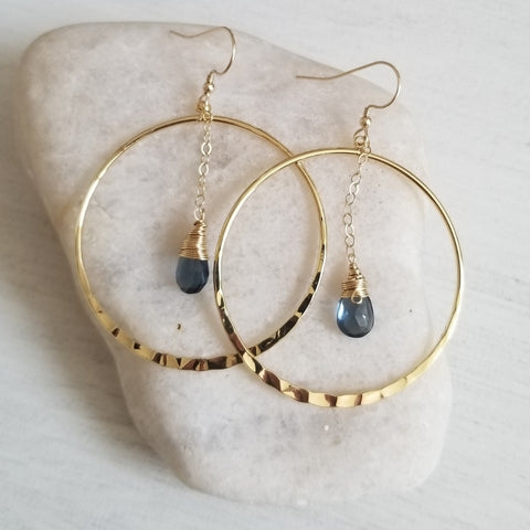 London Blue Quartz Hoop Earrings