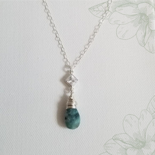 Larimar and Cubic Zirconia Pendant Necklace