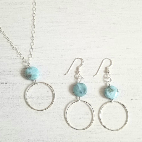 long boho necklace, larimar necklace and earrings set