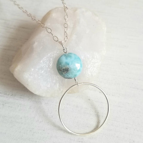 Natural Larimar Circle Pendant Necklace