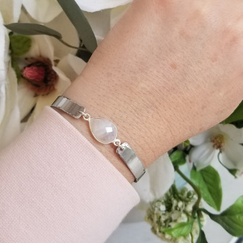 Unique Moonstone Bangle Bracelet, Bangle Cuff Style