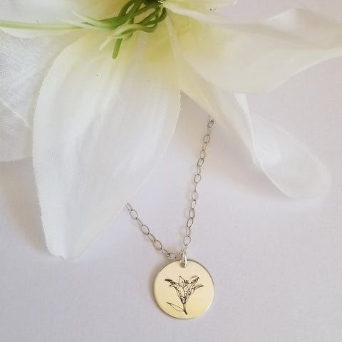 Mother's Day Gift, Flower Necklace for Moms, Custom Lily Necklace