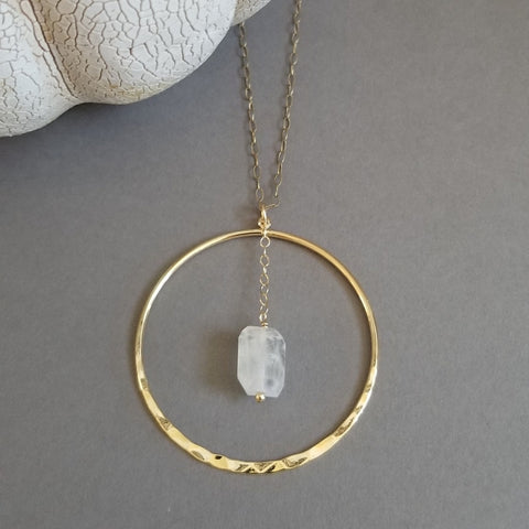 Long Gold Moonstone Pendant Necklace
