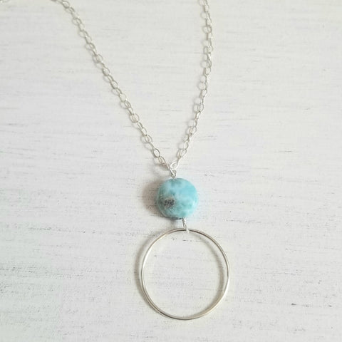 long circle necklace with larimar