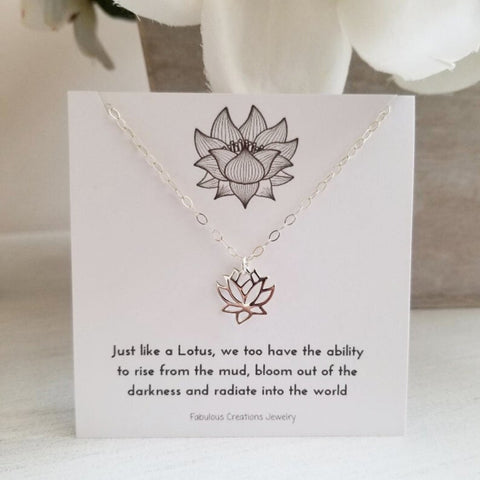 Sterling Silver Lotus Flower Charm Necklace