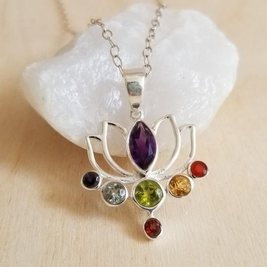 Multi Gemstone Lotus Flower Pendant Necklace, Chakra Necklace