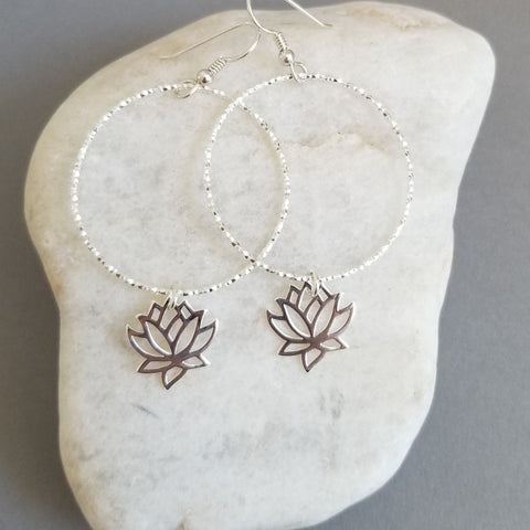 Boho Hoops, Gift for Best Friend, Lotus Flower Earrings