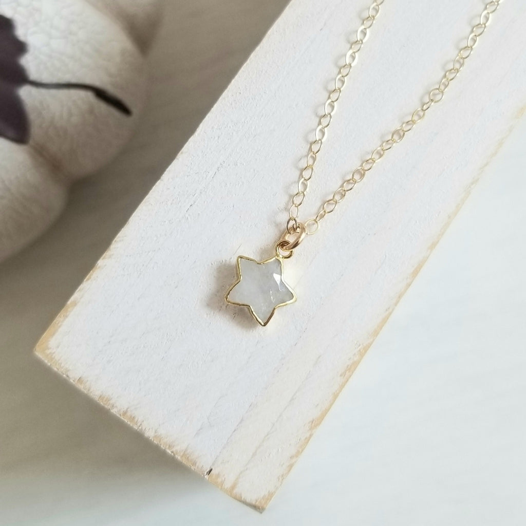 Moonstone Star Necklace, Dainty Gold Chain Necklace