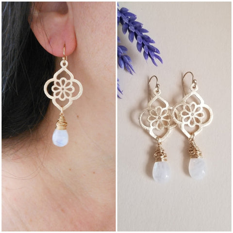 Gold Moonstone Statement Earrings, Floral Design Earrings