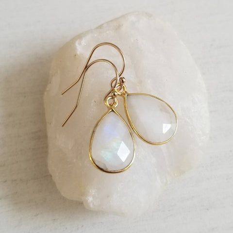 Moonstone Teardrop Earrings, Gold or Silver