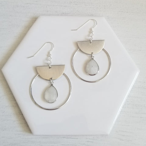 Modern Moonstone Hoop Earrings, Geometric Earrings
