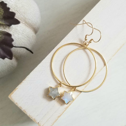 Gold Moonstone Star Hoop Earrings