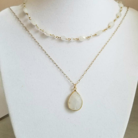 Natural Moonstone Beaded Necklace