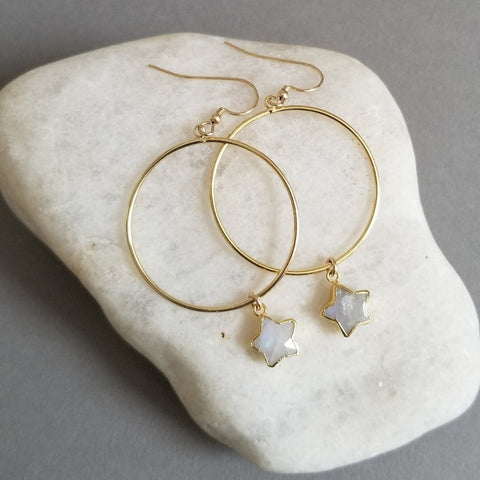 Gold Hoop Earrings with Moonstone Stars