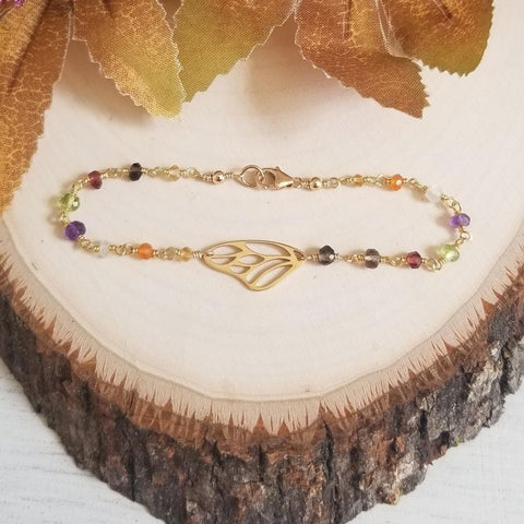 Gold Butterfly Wing Beaded Bracelet, Multi Gemstone Bracelet