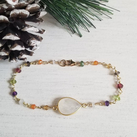 Gold Multi Gemstone and Moonstone Bracelet