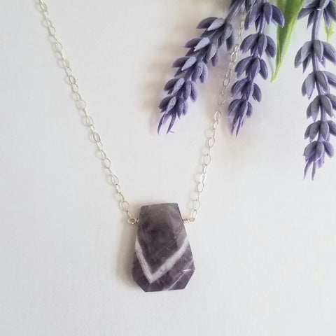 Chevron Amethyst Pendant Necklace for women