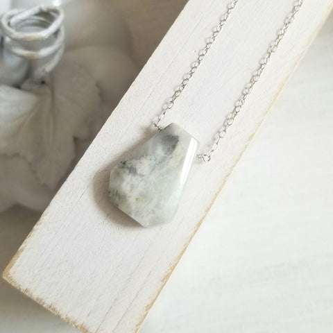 Natural Moonstone Pendant Necklace, Sterling Silver or Gold