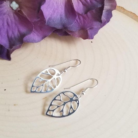 gift for her, Silver leaves earrings, rustic wedding Bridesmaids