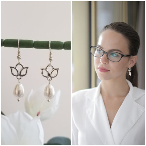Pearl Teardrop Earrings, Silver Lotus Flower Earrings