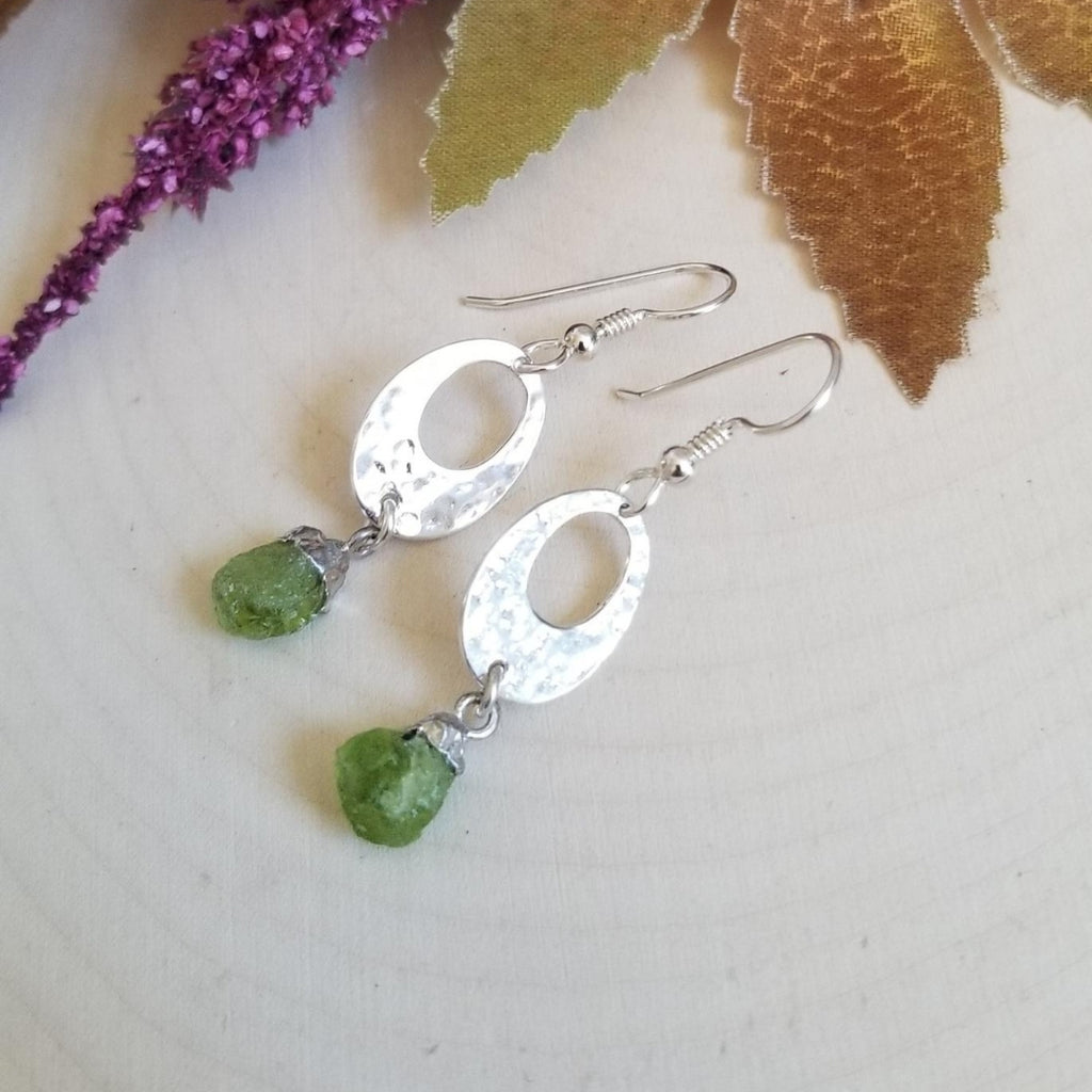 Raw Gemstone Earrings, Silver Dangle Drop Earrings