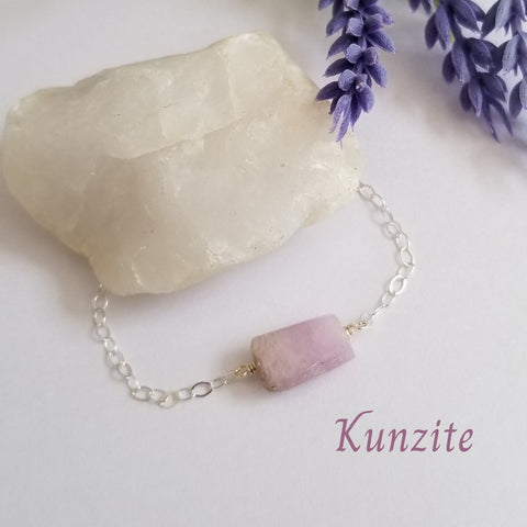 Pink Kunzite Stone Bracelet, Sterling Silver or Gold Filled
