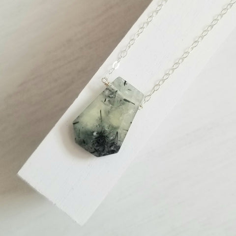 One of a Kind Prehnite Pendant Necklace