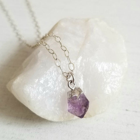 Sterling Silver Raw Birthstone Necklace