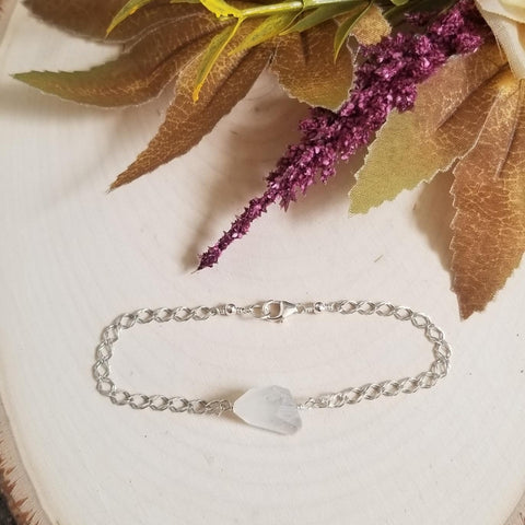 Sterling Silver Natural Moonstone Bracelet