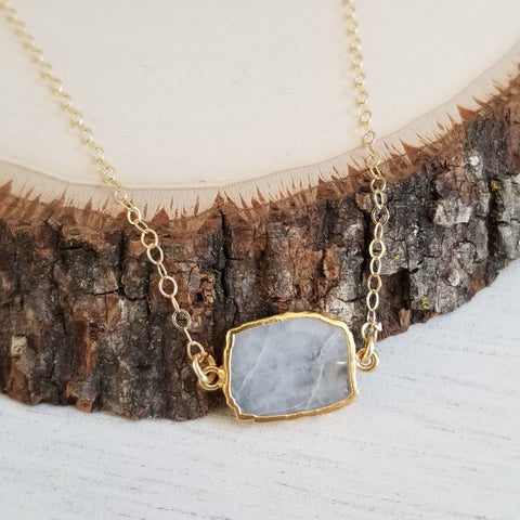 Rainbow Moonstone Necklace, Simple Gem Slice Layering Necklace