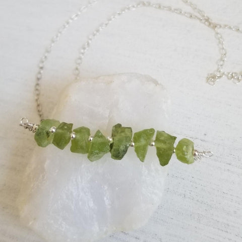 Peridot necklace for women, birthday gift for her