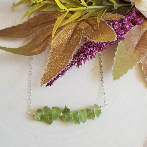 Gemstone bar necklace, gift for women, Raw Peridot jewelry