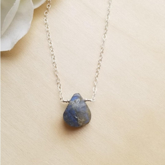 raw natural labradorite necklace, dainty necklace, thin gold necklace