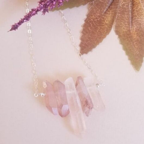 Raw Crystal Quartz Spike Bib Necklace, Boho Style Necklace