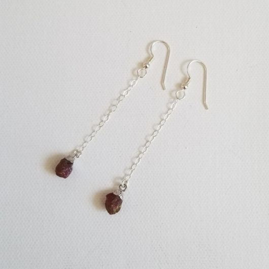 Raw Ruby Earrings, Delicate Gold or Silver Earrings, Long Boho Earrings