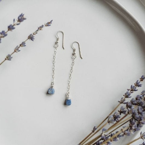 Raw Sapphire Earrings, September Birthstone