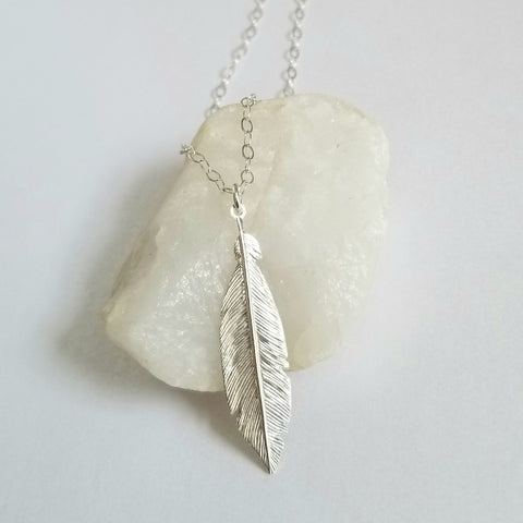 Bohemian Style Sterling Silver Feather Necklace