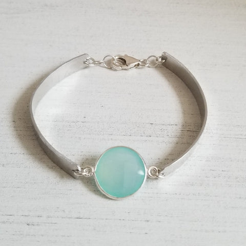 Gemstone Bangle Bracelet, Gift for Her, Handmade Bangle with Aqua Chalcedony Stone